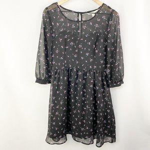 LC Lauren Conrad Floral Midi Dress Black Size 8